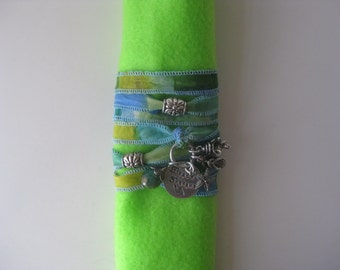 Hand Stamped - Hand Dyed Silk Ribbon Bracelet - Beach Therapy with Trinkets