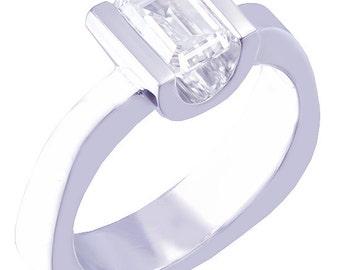 14k white gold emerald diamond engagement ring semi tension 0.75ct g-vs2 egl usa