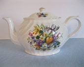 Vintage Arthur Wood & Son Staffordshire England Teapot # 6410 / Fine Bone China / Spring Flowers / Serving / Tea For Two / Made in England