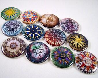 Quilt Compass Magnets, Quilt Compass Pins, Compass Magnets Pins