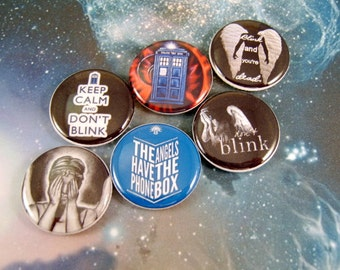 """Dr Who Dont Blink Pins, Dont Blink Magnets, Dont Blink Cabochons, 1"""" Inch Flat, Hollow Bk, Cabochons, 12 ct"""