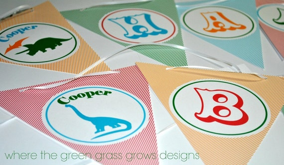Dinosaur Party Banner (Bunting)