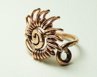 sun copper wire ring custom size -  handmade jewelry by Dereck Maltez