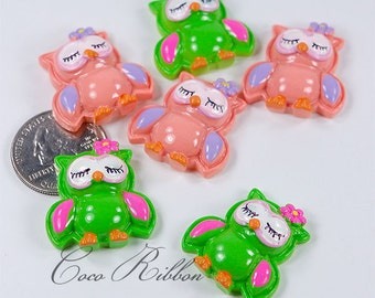 12/24/50pcs 26mm Easter Owl With Flower Kawaii Bling Flatback Resin Cabochons - Green / Peach / Mixed