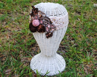 Sale Large Sequin Lace Floral Pink And Brown Swarovski Crystal Headband