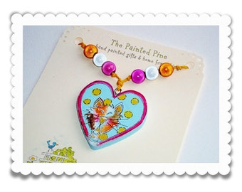 Kids Necklace Hand Painted Wooden Heart Cat Party Favor