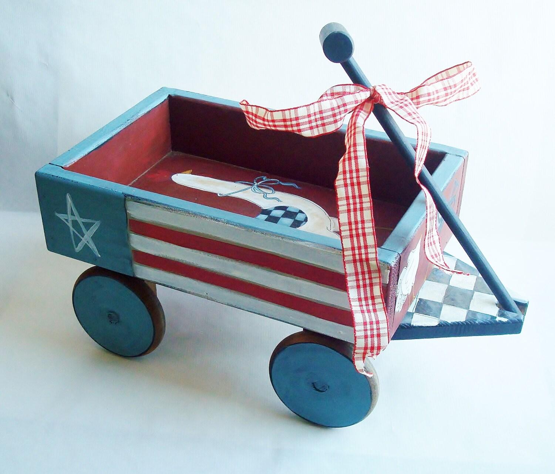 Wooden wagon patriotic home decor decorative prim for Patriotic decorations for home