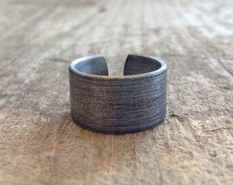 Men's Rustic Ring Band, Cool Men's Rings, Cuff Ring, Oxidized Ring, Adjustable Ring, Aluminum Ring, Choose Oxidized or Brushed Finish