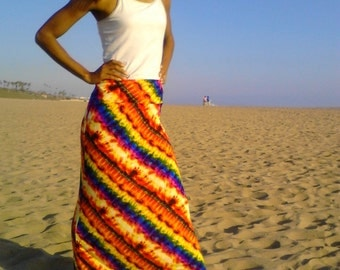 Diagonal Stripe Tie Dye Maxi Skirt