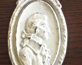 Vintage Art Deco Cast Iron Embellishment Finding - White Paint - Victorian Bust