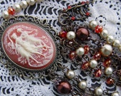Handmade Romantic Victorian Cameo, Glass and Pearl Necklace with Brass Chain
