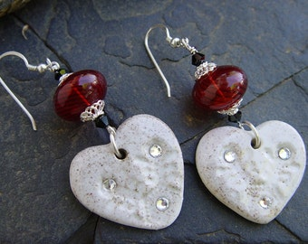 Snowflakes and Poinsettias - Stoneware and Blown Glass Sterling Silver Beaded Earrings