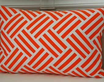 Orange Decorative Pillow Cover,  Orange Geometric Throw Pillow, One 12x18 Reversible Pillow Cover, Orange Cushion