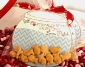 Gold Fish Valentines Day Cards - DIY Personalized - 4 Different Sayings