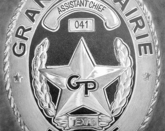 Custom Pencil Drawing From Your Photo - 5x7 Police Fire Department Law Enforcement Badge Personalized Sketch Art From Picture
