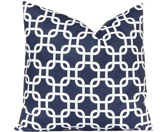 Navy Blue Pillow, Throw Pillow, Decorative Pillow Covers 18 x 18 Inches - Navy Blue and White Pillows Chain Link ONE