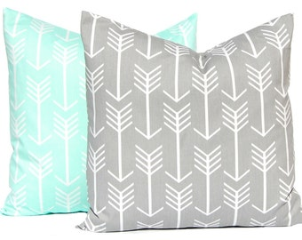 Pillow Covers - Decorative Pillow Covers - Gray Arrows - Mint Green Arrows - Throw Pillow Covers - Gray and Mint - Mint Green Pillow