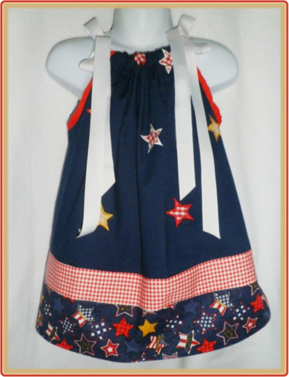 Patriotic Dress Toddler sz 18 mo 24 mo Red, White, Blue and Gold Stars & Stripes on Navy sleeveless