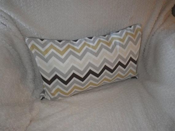 Chevron Print, Brown, Grey, White Chevron with Grey Twill, 12x16 Lumbar Pillow, Ready to Ship, By Sew Custom Designs