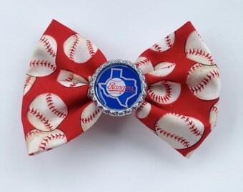 Texas Rangers red fabric hair bow