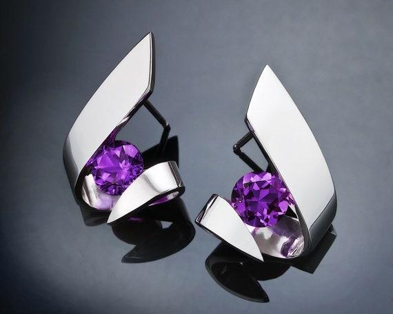 amethyst earrings, February birthstone, modern earrings, Argentium silver, purple earrings, fine jewelry, gemstone jewelry, posts - 2440