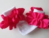 Bright Pink  Ruffled Ribbon Socks
