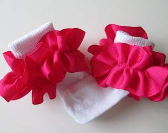 Bright Pink  Ruffled Ribbon Socks