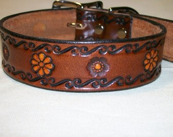 Leather Dog Collar with Scrollwork and Flower Design - Standard Length