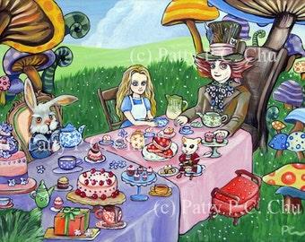 ORIGINAL canvas fantasy painting Tea Party in Wonderland