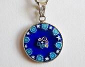Vintage Italian Blue Art Glass Millefiori Sterling Silver Necklace Pendant & Chain