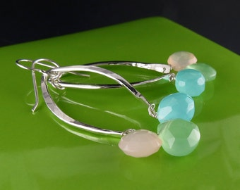 Bold Spring Silver Earrings with Chalcedony Briolettes, Handmade