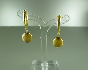 Pearl Earrings, 10 mm Gold Coin Pearl, European Leverbacks, Sterling Silver or Gold Vermeil, 1.25 in (3 cm)