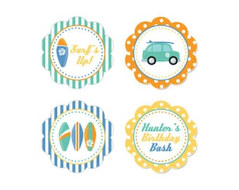 PRINTABLE Surf Party Circles