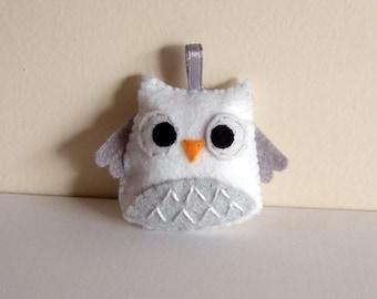 White snow owl plush keychain  plushie, Felt Owl, Felt Owl keychain,