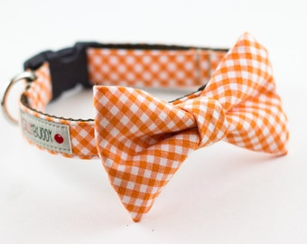 Orange Gingham Bowtie Dog Collar