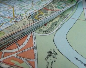 Lot of 12 Vintage Maps, Collage scrapbooking, decoupage, Art Supplies,