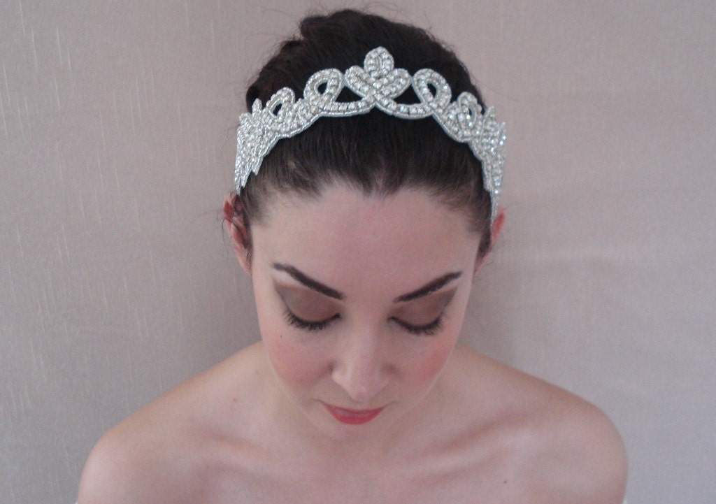 rhinestone headband attached to a pure silk satin ribbon in ivory white or black