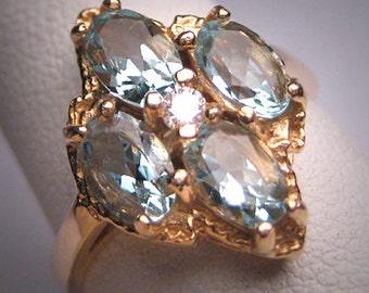 Antique Vintage Aquamarine Diamond Ring Retro Art Deco Wedding 14K Gold