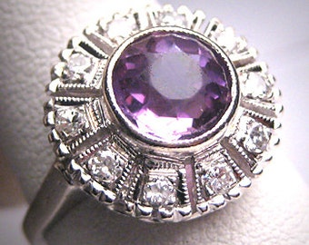 Antique Rose De France Amethyst Diamond Wedding Ring White Gold Art Deco 1920