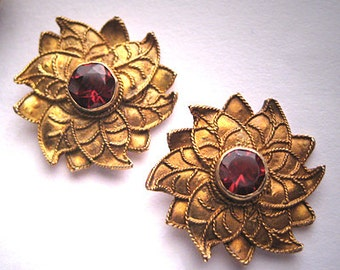 Vintage Garnet Earrings Victorian Art Nouveau Revival