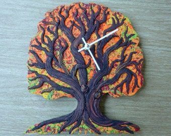 Autumn Tree of Life Clock or Wall Art Sculpture in Orange, Red, Yellow, Green and Wood Polymer Clay