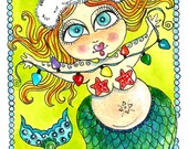 Instant Download Christmas Mermaid Art Print
