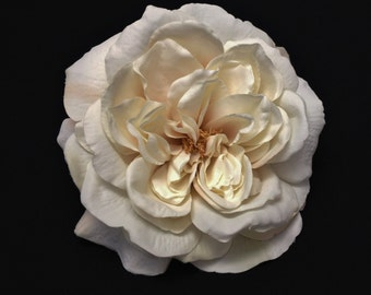 Silk Flowers - One Jumbo Fully Bloomed IVORY Sophia Rose - 5.5 Inches - Artificial Flowers