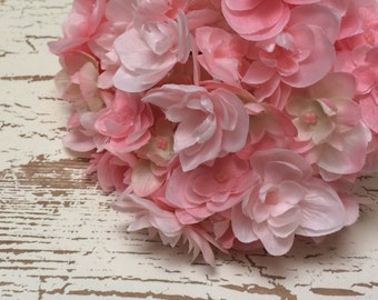 Silk Flowers - One DOUBLE Hydrangea Head in Shades of Pink - STUNNING Artificial Flowers