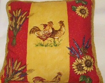 Country French Cottage Rooster Pillow Provence Check Red Yellow Toile Hen Pillows