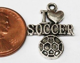 5 I Love Soccer Charms