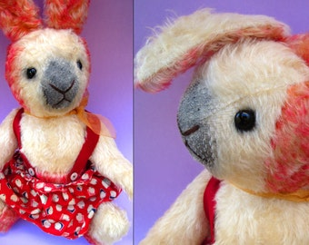 OOAK Mohair Plush Easter Bunny Rabbit Teddy Bear by Heidi Steiner - Vintage Style Artist Bear Sweet Country Cottage Girl Stuffed Animal Pink