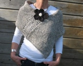 Pure Wool Poncho Wrap In Light Grey With Felted Flower Pin