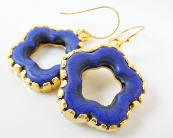 Royal Blue Turquoise Flower Earrings With Vermeil Sterling Silver Hooks - Christmas