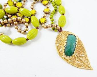 Green Leaf Beaded Necklace Gypsy Jewelry Hippie Bohemian Artisan - One Of a Kind